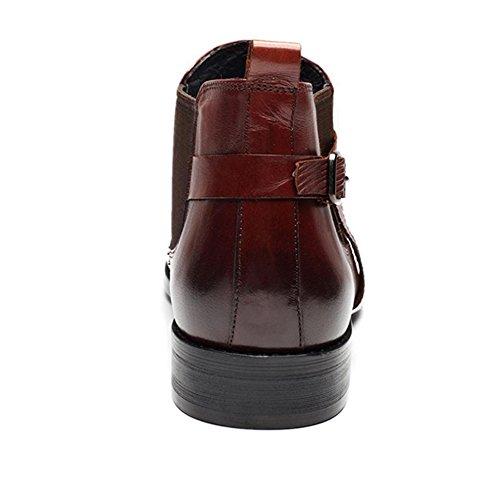 WZG invierno las nuevas botas altas de los hombres en Europa y América señaló Martin botas en tubo par de botas señalaron los zapatos planos wine red