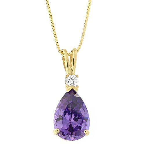 14k Yellow Gold Pear Cut Simulated Amethyst and Cubic Zirconia Pendant Necklace, 16