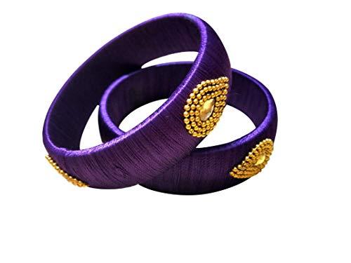 GOELX Festive Offer: Handcrafted Designer Silk Thread Kada Bangles for Women in Purple Colors - 2.4 ()