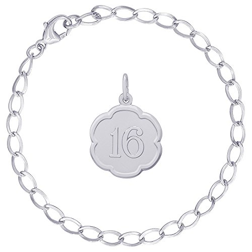 Rembrandt Charms Sterling Silver Number 16 Scalloped Disc Charm on a Curb Link Bracelet, 8