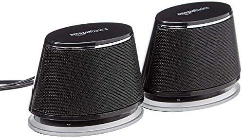 Amazon Basics USB-Powered PC Computer Speakers with Dynamic Sound | Black