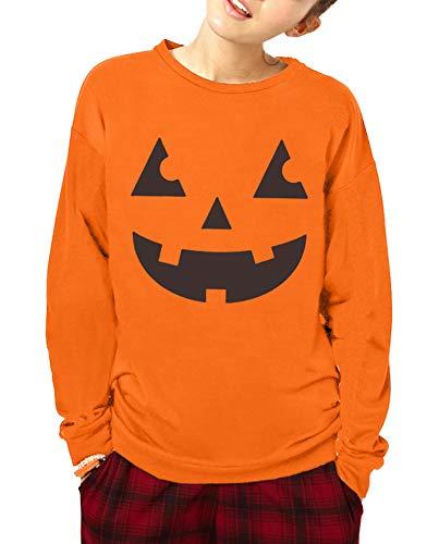 Holloween Costume Women Orange Funny Pumpkin Sweatshirt Long Sleeve Loose Casual Pullover Tops Jack-O-Lantern -