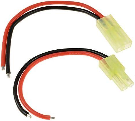 Boladge 2 Paires Adaptateur de Connecteurs Mâle et Femelle Batterie Mini Tamiya 10CM 14AWG Fil de Silicone pour Câblage RC