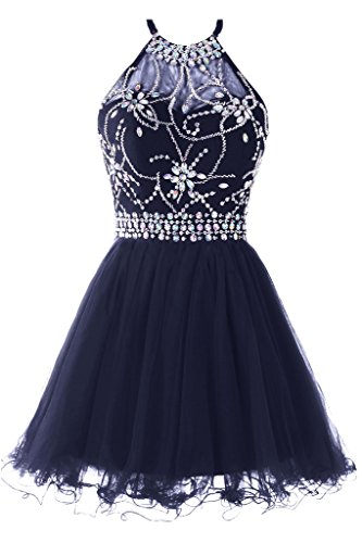 Musever Women's Halter Short Homecoming Dress Beading Tulle Prom Dress Navy US 0