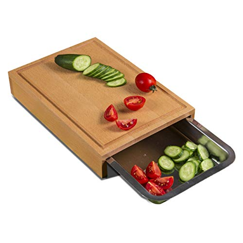 Wooden Cutting Board with Container | Chopping Drawer | for Meat, Vegetables, - Beechwood Cutlery Tray