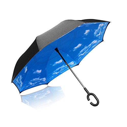 Elover 32in X 8 Panels Double Layer Inverted Umbrella, A- Sky Blue