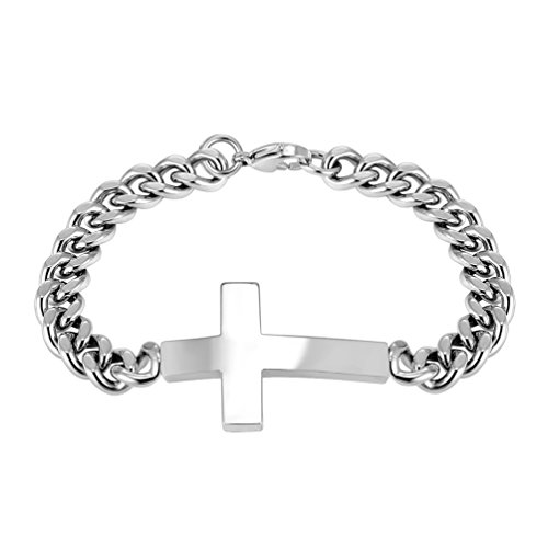 Sideways Cross Bracelet,Chunky Big,Chain Bracelet, Silver Color,Men Jewelry,Gift for Him,316L Stainless Steel,PSH2684G