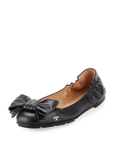 Tory Burch Diving Bow Driver Ballet Flat, Nappa Leather, Black (7) -
