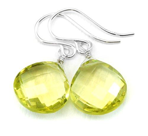 - Sterling Silver Lemon Yellow Quartz Earrings Faceted Heart Shaped Simple Dainty Drops Briolettes