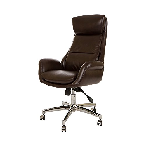 Glitzhome Home Executive Office Chair Armrest Bonded Leather (High-Back,Coffee)