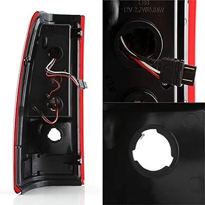 For GMC Sierra/Chevy Silverado Pick Up Truck Black Bezel Red Lens LED Tube Tail Brake Lights Lamp: Automotive