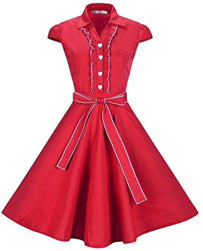 - BI.TENCON Women 1950s Cap Sleeves Belted Vintage Cotton Casual Swing Dress in Red Plus Size XL