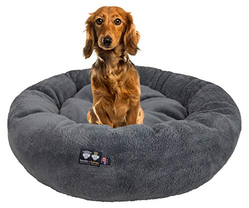 BESSIE AND BARNIE Ultra Plush Deluxe Comfort Pet Dog & Cat Grey Snuggle Bed (Multiple Sizes) – Machine Washable, Made in The USA, Reversible, Durable Soft Fabrics, S – 23″ x 23″, Grey