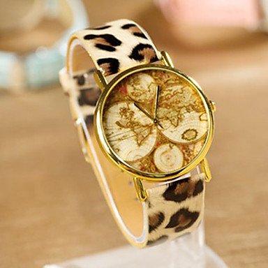 ファッション時計ワールドマップ時計、レザー腕時計レディース腕時計、メンズ腕時計、ギフトアイデア、カスタム、古いマップ、地図腕時計、ファッションアクセサリー B072FG5M3Hレオパード