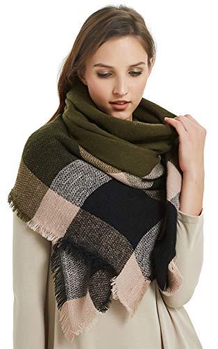 VIVIAN & VINCENT Women's Plaid Blanket Winter Scarf Warm Wrap Oversized Shawl Cape Green Black (Green Chunky Scarves)