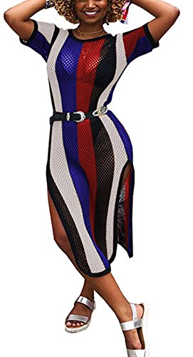 Speedle Womens Round Neck Short Sleeves Colorful Stripe Side Split Fishnet Cover up Dress Floral 2 S