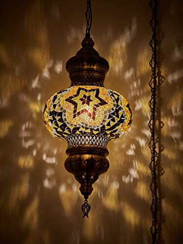 (Choose from 12 Designs) Turkish Moroccan Mosaic Glass Chandelier Lights Hanging Ceiling Lamps (Large-5)