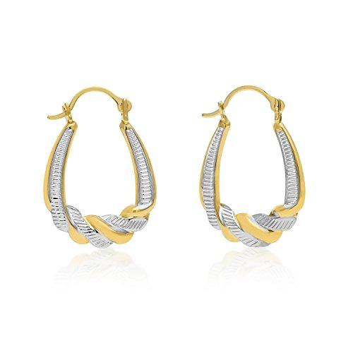 2 Tone Hoop Earrings - 3