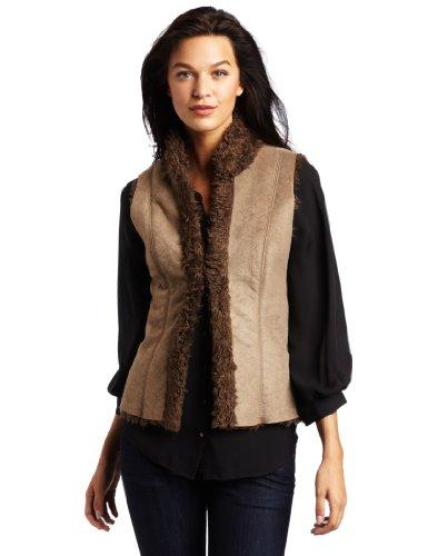 Karen Kane Women's Faux Fur Collar Vest