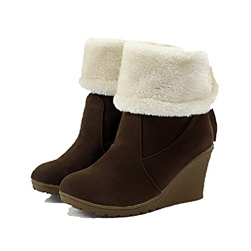 AgooLar Damen Ziehen auf Hoher Absatz PU Rein Rund Zehe Stiefel, Khaki, 39