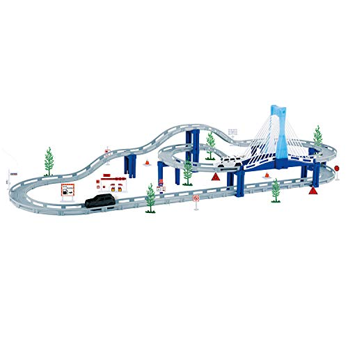Fun-Here Race Cars Track Set Toy City Highway Living Flexible Slot Car Mega Tracks Length 12 feet Musical Bridge Boys Girls Gift
