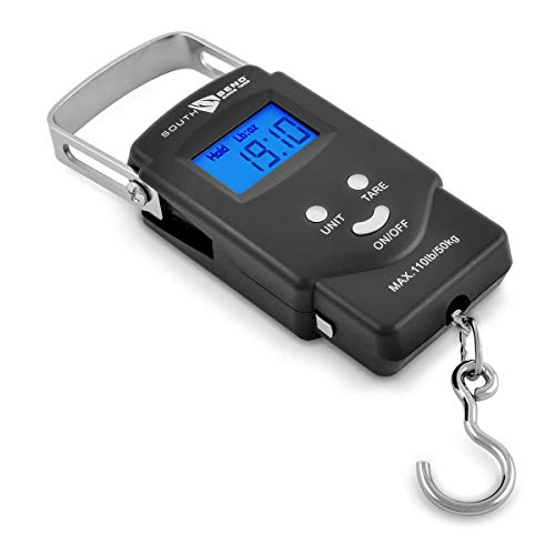 - South Bend Digital Hanging Fishing Scale with Backlit LCD Display, 110lb/50kg Weight Capacity, Built-in Tape Measure, 2 AAA Batteries Included