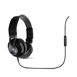 JBL Synchros S300A Premium On-Ear Audio Stereo Headphones with Leather Foldable Earcups and 3-Button Remote Cable Compatible with Android and Apple iOS Devices - Black/Grey