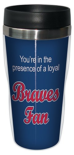 Tree-Free Greetings sg24078 Braves Baseball Fan Sip 'N Go Stainless Steel Lined Travel Tumbler, 16-Ounce