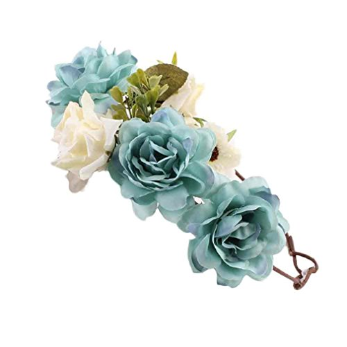 Mokao Baby Handmade Rose Flower Hairband Wreath Headdress (Blue)