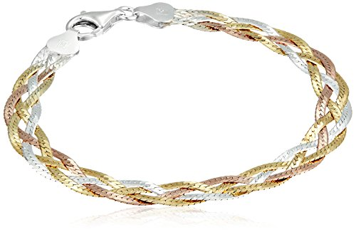 Sterling Silver Italian Tri-Color Four-Strand Braided Herringbone Chain Bracelet, 7.5