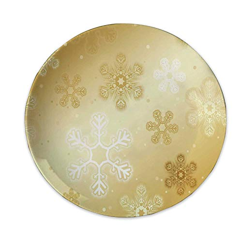Christmas Ceramic Decorative Plate,Snowflakes Pattern on Gold Color Background Noel Holiday Yule Winter Themed Artsy Image for Home Decorative,7 inch (Background Artsy Christmas)