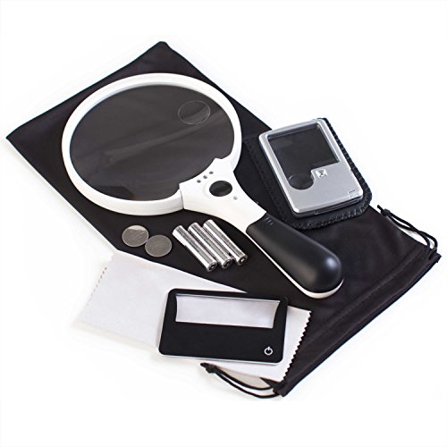 3 Magnifier Bundle: XL Quality Magnifying Glass with Light 10x 4X 2X Lenses + Pocket Magnifier with Light 6X 3X Lenses + Credit Card Magnifier with Light 3X Lens + Batteries, Bonus & Guarantee ()