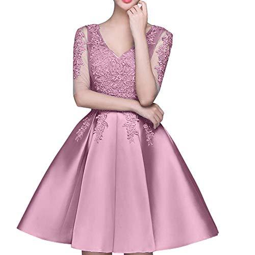 La Tanzenkleider Einfach Braut Mini Abendkleider Partykleider Rosa Dunkel Rock Spitze Marie Cocktailkleider SrBwSq