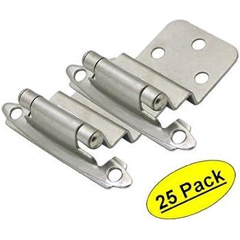 """Cosmas 17128-SN Satin Nickel Cabinet Hinge 3/8"""" Inset [17128-SN] - 25 Pair Pack"""