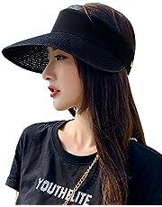 Women's Sun Visor Beach Hat Ponytail Wide Brim Summer UPF 50 Packable Straw Sun Hat