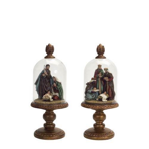 Melrose International Bronze Nativity Set In Dome, Set of Two - Bronze Nativity Set