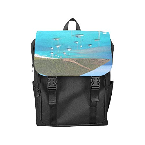 Fashion Flip Cover Notebook British City Free Travel Romantic Color Print Laptop Backpack Travel Men Women Business Computer Backpack Oxford Fabric Vintage School Shoulder - Tortola Bay British Virgin