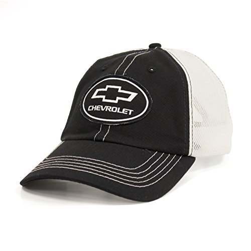 Tee Luv Chevy Bow Tie Logo Patch Hat | Vintage Trucker Style Hat | Licensed Chevrolet Design,Black, - Chevy Cap Baseball