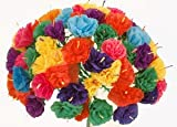 Bouquet of Mexican Paper Flowers 12 stems with 5 flowers each (60 flowers total)