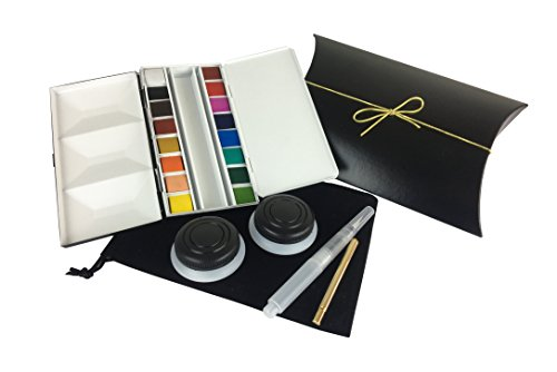 Original Whiskey Painter 16 Artist Watercolor Half pan Set for Travel or Studio use