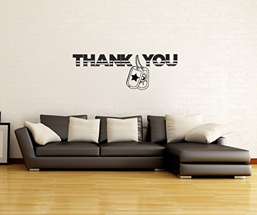 Thank You Stars and Stripes with Dog Tags Wall Words Decal Sticker Graphic