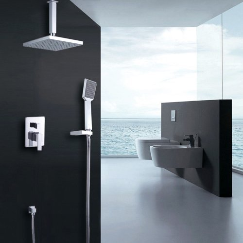 Lightinthebox Contemporary Chrome Finish Wall Mounted Shower Faucet Double Handles Brass with Square Shower Head and Hand Shower Brass Double Handle Shower