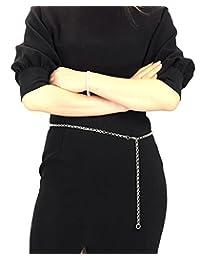NYfashion101 Trendy Belly Chain Belt w/Single Link Chain IBT1010-Silver