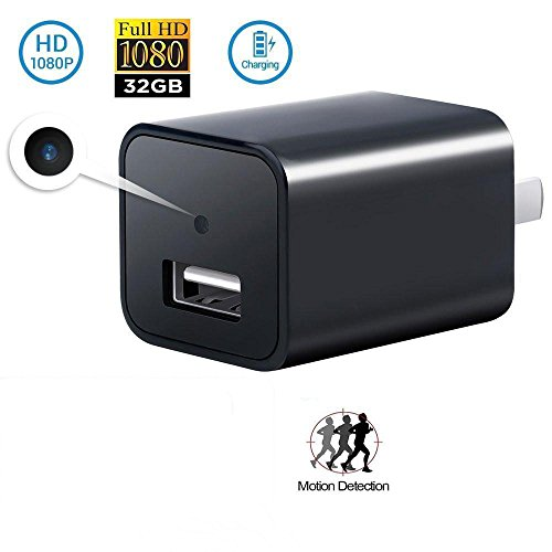 Hidden Spy Camera Wall USB Charger, HD 1080p, Wi-Fi Nanny Cam, Supports 32GB SD Memory Card, Wi-Fi Remote Viewing, Motion Detection, Loop Recording, Digital Recording,