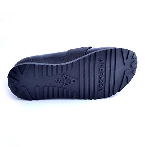 Apepazza Chaussures Slip On Cuir Elastique Noir Glands Femme Taille 36