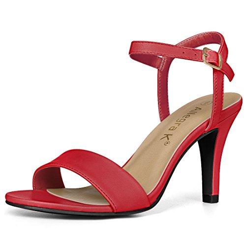 Allegra K Women Open Toe Stiletto Heel Ankle Strap Dress Sandals Red