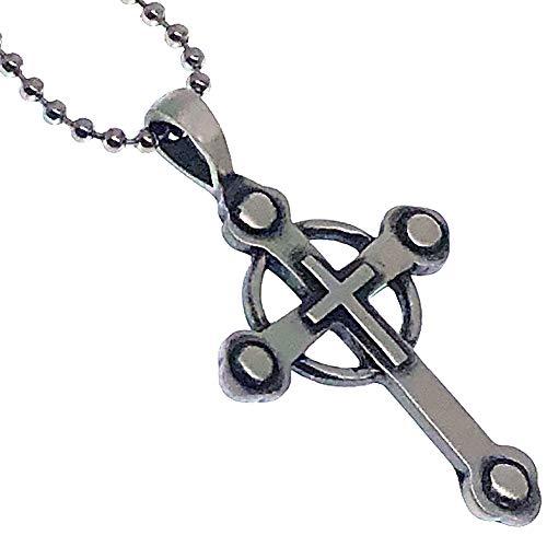 Vampire Slayer Cross Pewter Unisex Boys Girls Men Pendant Necklace Charm Amulet w Silver Ball Chain