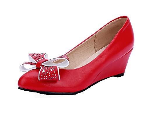 Chaussures Unie Légeres Rouge GMBDB013253 Cuir Tire Couleur AgooLar Femme PU xXHHPYB