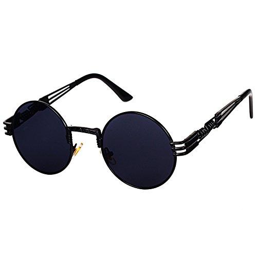 Pro Acme John Lennon Round Steampunk Sunglasses for Women Men Retro Metal Frame (Black Frame/Black Lens)