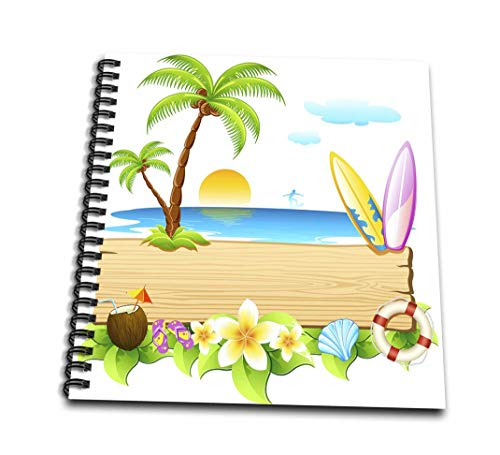 SpiritualAwakenings _ビーチ–トロピカルビーチシーンwithサーフボード柄、シェル、太陽、Palm Trees and More–Drawing Book 8 by 8-Inch db_167252_1